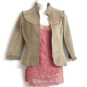 BCBGMaxAzria Suede Leather Zipper Jacket K0207